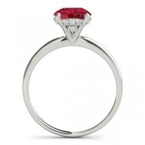 Ruby & Diamond Solitaire Bridal Set 18k White Gold (1.20ct)