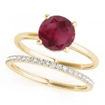 Ruby & Diamond Solitaire Bridal Set 18k Yellow Gold (1.20ct)