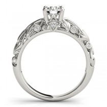 Diamond Antique Style Engagement Ring 14k White Gold (0.68ct)