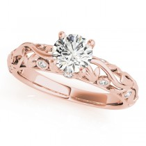 Diamond Antique Style Engagement Ring 18k Rose Gold (0.68ct)