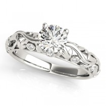 Diamond Antique Style Engagement Ring Palladium (0.68ct)
