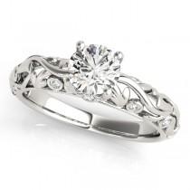 Diamond Antique Style Engagement Ring Platinum (0.68ct)