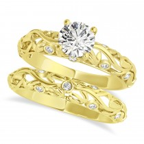Diamond Antique Style Bridal Set 14k Yellow Gold (0.68ct)