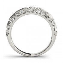 Diamond Antique Style Wedding Band 14k White Gold (0.07 ctw)