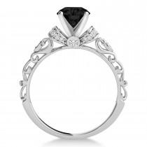 Black Diamond & Diamond Antique Style Engagement Ring 14k White Gold (0.87ct)
