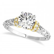 Diamond Antique Style Engagement Ring 14k Two-Tone Gold (0.87ct)