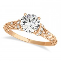 Diamond Antique Style Engagement Ring 18k Rose Gold (0.87ct)