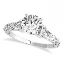 Diamond Antique Style Engagement Ring 18k White Gold (0.87ct)
