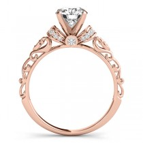 Diamond Antique Style Engagement Ring Setting 14k Rose Gold (0.12ct)|escape