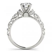 Diamond Antique Style Engagement Ring Setting 14k White Gold (0.12ct)