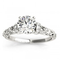 Diamond Antique Style Engagement Ring Setting 18k White Gold (0.12ct)