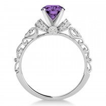 Amethyst & Diamond Antique Style Engagement Ring 14k White Gold (0.87ct)