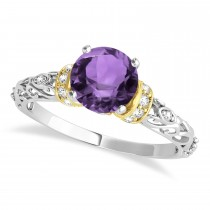 Amethyst & Diamond Antique Style Engagement Ring 14k Two-Tone Gold (0.87ct)