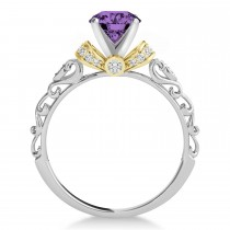 Amethyst & Diamond Antique Style Engagement Ring 18k Two-Tone Gold (0.87ct)