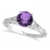 Amethyst & Diamond Antique Style Engagement Ring 14k White Gold (1.12ct)