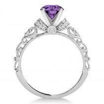 Amethyst & Diamond Antique Style Engagement Ring Platinum (1.12ct)