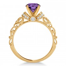 Amethyst & Diamond Antique Style Engagement Ring 14k Rose Gold (1.62ct)