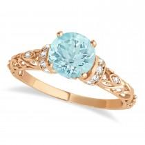 Aquamarine & Diamond Antique Style Engagement Ring 14k Rose Gold (0.87ct)