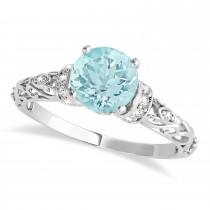 Aquamarine & Diamond Antique Style Engagement Ring 14k White Gold (0.87ct)