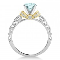 Aquamarine & Diamond Antique Style Engagement Ring 14k Two-Tone Gold (0.87ct)