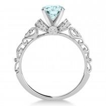 Aquamarine & Diamond Antique Style Engagement Ring 14k White Gold (1.12ct)