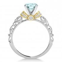 Aquamarine & Diamond Antique Style Engagement Ring 18k Two-Tone Gold (1.12ct)