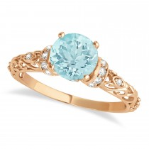 Aquamarine & Diamond Antique Style Engagement Ring 14k Rose Gold (1.62ct)