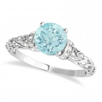 Aquamarine & Diamond Antique Style Engagement Ring Palladium (1.62ct)