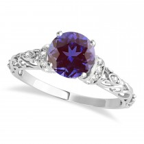 Alexandrite & Diamond Antique Style Engagement Ring 14k White Gold (0.87ct)