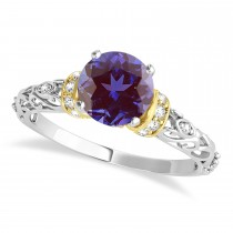 Alexandrite & Diamond Antique Style Engagement Ring 14k Two-Tone Gold (0.87ct)