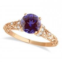 Alexandrite & Diamond Antique Style Engagement Ring 18k Rose Gold (0.87ct)