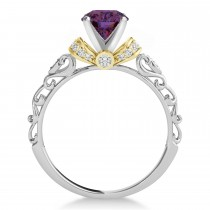 Alexandrite & Diamond Antique Style Engagement Ring 18k Two-Tone Gold (0.87ct)