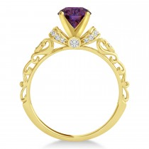 Alexandrite & Diamond Antique Engagement Ring 14k Yellow Gold 1.12ct