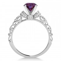 Alexandrite & Diamond Antique Style Engagement Ring 18k White Gold (1.12ct)