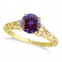 Alexandrite & Diamond Antique Engagement Ring 14k Yellow Gold 1.62ct