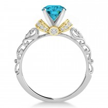 Blue Diamond & Diamond Antique Style Engagement Ring 14k Two-Tone Gold (0.87ct)