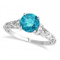 Blue Diamond & Diamond Antique Style Engagement Ring 18k White Gold (1.62ct)
