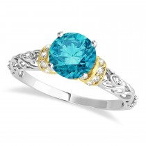 Blue Diamond & Diamond Antique Style Engagement Ring 18k Two-Tone Gold (1.62ct)