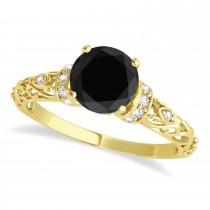 Black Diamond & Diamond Antique Engagement Ring 14k Yellow Gold .87ct