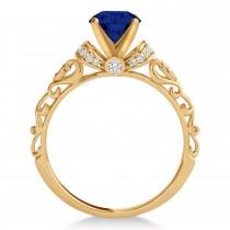 Blue Sapphire & Diamond Antique Style Engagement Ring 14k Rose Gold (0.87ct)