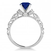 Blue Sapphire & Diamond Antique Style Engagement Ring 18k White Gold (0.87ct)