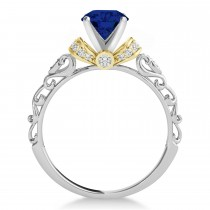 Blue Sapphire & Diamond Antique Style Engagement Ring 18k Two-Tone Gold (0.87ct)