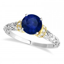 Blue Sapphire & Diamond Antique Style Engagement Ring 18k Two-Tone Gold (1.12ct)