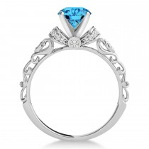 Blue Topaz & Diamond Antique Style Engagement Ring 14k White Gold (0.87ct)