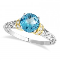 Blue Topaz & Diamond Antique Style Engagement Ring 18k Two-Tone Gold (0.87ct)