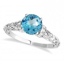 Blue Topaz & Diamond Antique Style Engagement Ring Palladium (1.12ct)
