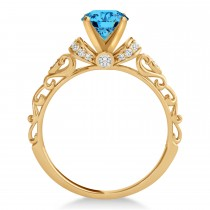 Blue Topaz & Diamond Antique Style Engagement Ring 14k Rose Gold (1.62ct)