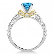 Blue Topaz & Diamond Antique Style Engagement Ring 18k Two-Tone Gold (1.62ct)