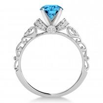 Blue Topaz & Diamond Antique Style Engagement Ring Palladium (1.62ct)