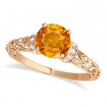Citrine & Diamond Antique Style Engagement Ring 14k Rose Gold (0.87ct)
